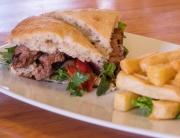 Alpaca sandwich in Ulrike's Cafe Pisac in the Sacred Valley, Peru