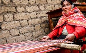 Weaving using a backstrap loom