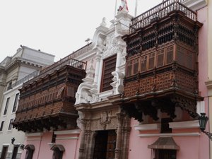 Colonial Balconies of Lima Peru.