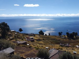 View from Taquile Island on Lake Titicaca
